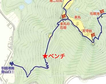 散策マップ、ベンチの位置