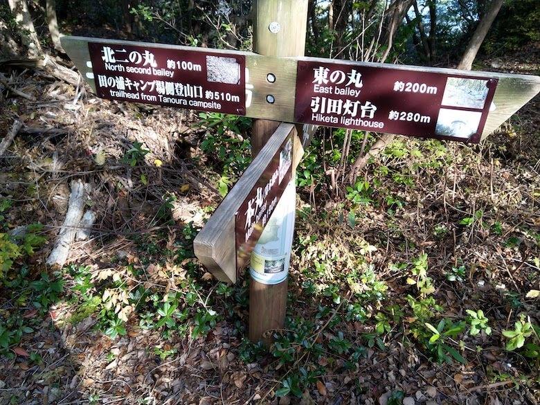 三方向分岐点の標識