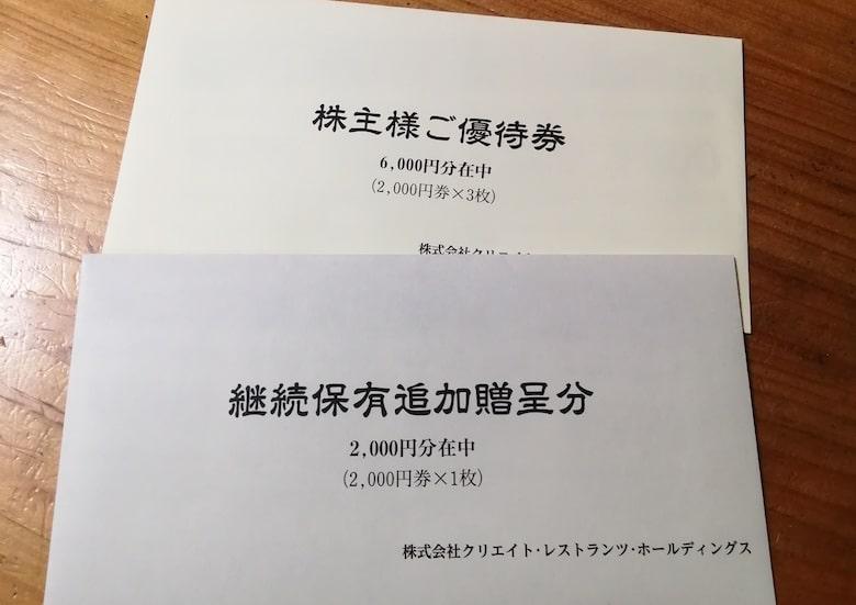 2020年8月権利分の株主優待券封筒