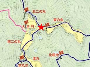 散策マップ、三方向分岐点