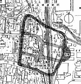 伊丹城本丸跡古地図