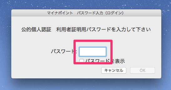マイナポイント 利用者証明用パスワード入力画面