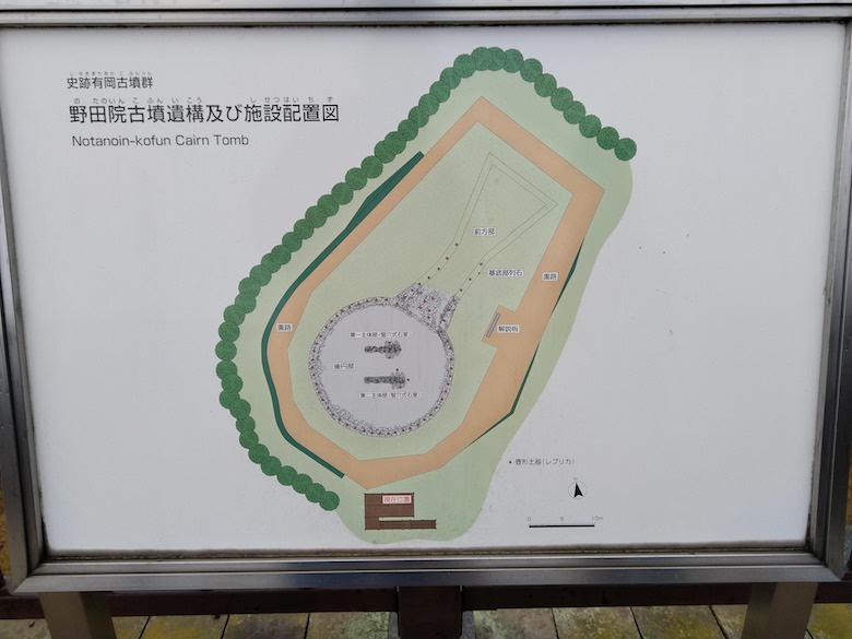 野田院古墳遺構及び施設配置図のパネル