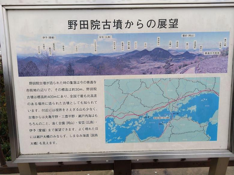 眺めの様子が写された写真が掲載された現地案内パネル