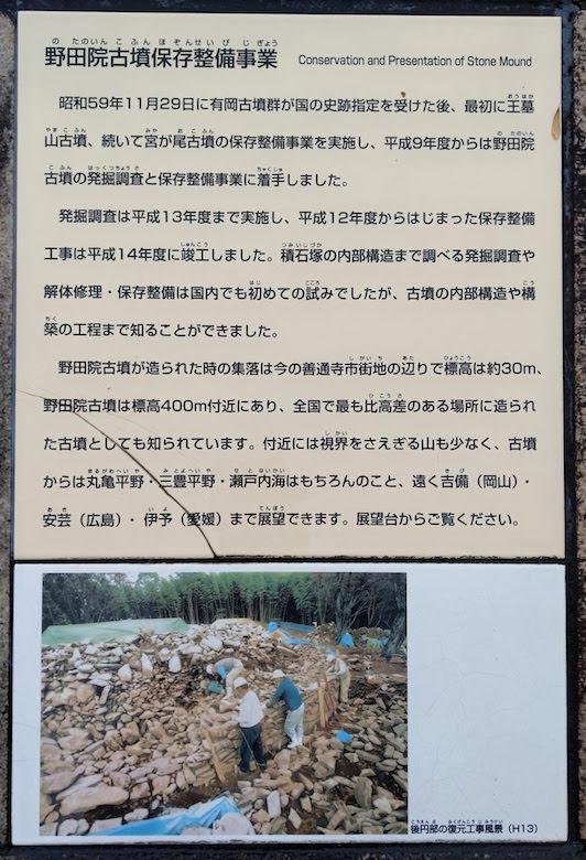 野田院古墳保存整備事業の説明パネル