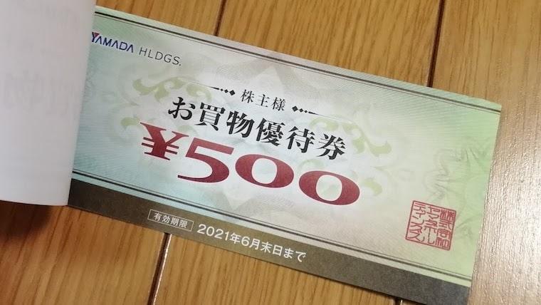 ヤマダホールディングスの株主優待券(2020年9月権利分)
